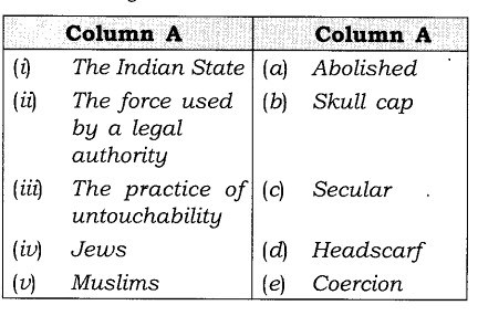 NCERT Solutions For Class 8 Social and Political life Understanding Secularism-matching-