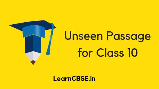 Unseen Passage for Class 10