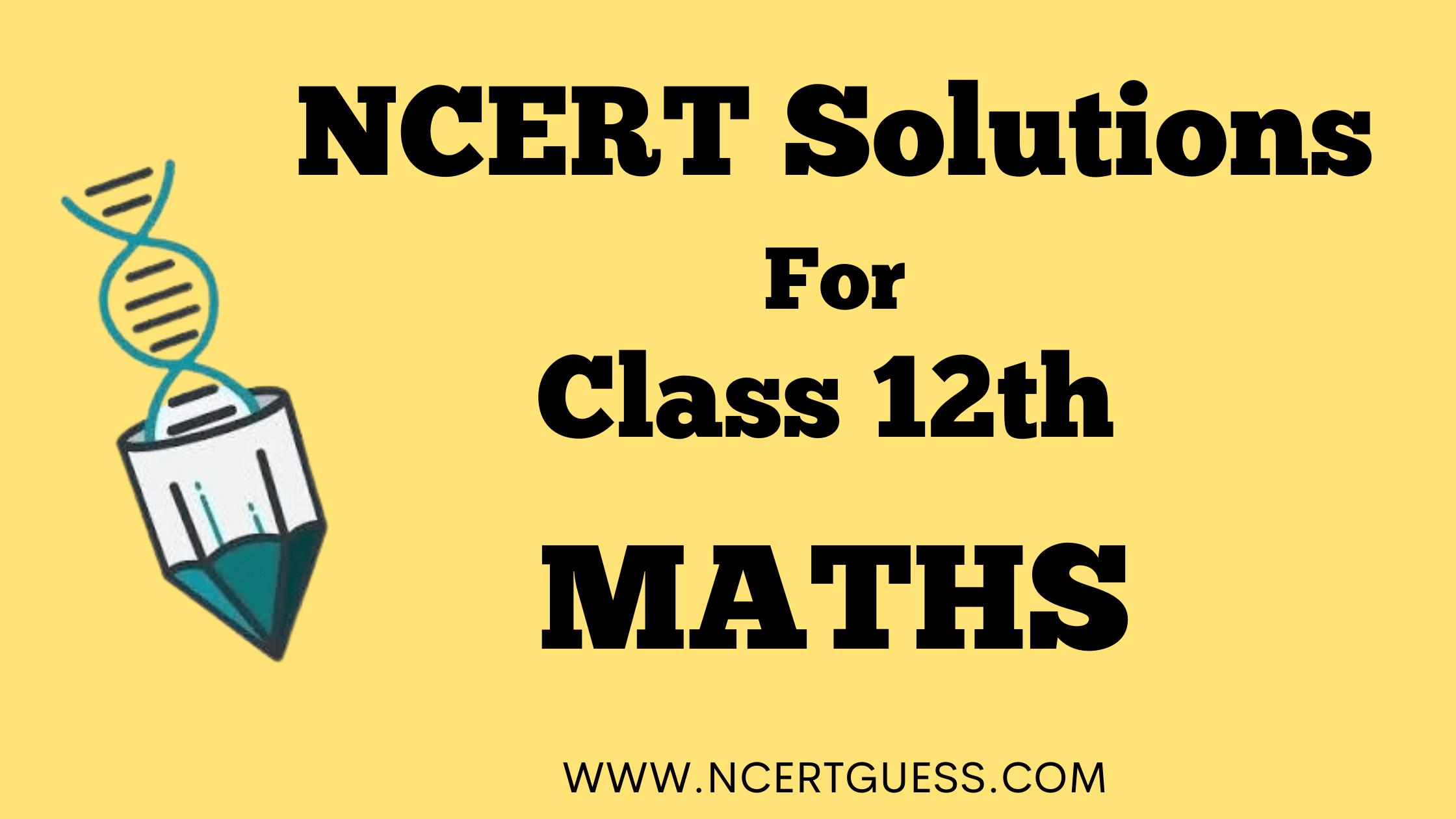 NCERT SOLUTIONS CLASS 12TH MATHS